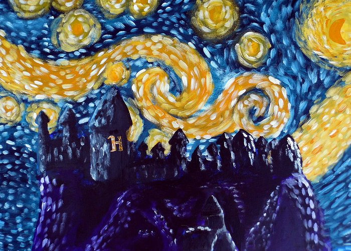 Hogwarts Greeting Card featuring the painting Hogwarts Starry Night by Jera Sky