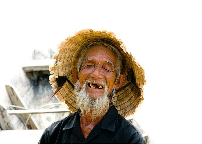 Close-up. Unesco Greeting Card featuring the photograph Hoi An Fisherman by David Smith