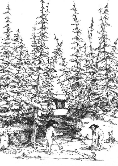 Golf Greeting Card featuring the drawing Hole 3 by Sam Sidders