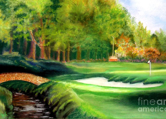 Golf Greeting Card featuring the pastel Hole Number10 by Lamarr Kramer