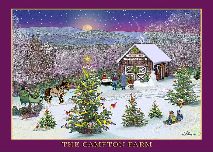 Winter Greeting Card featuring the digital art Holiday At Campton Farm New Hampshire by Nancy Griswold