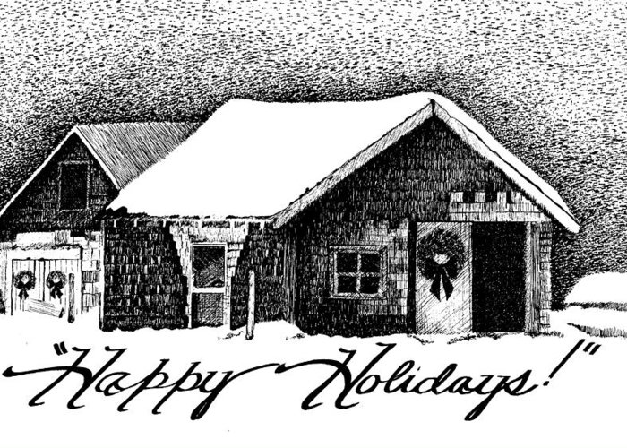 Holiday Barn Greeting Card featuring the drawing Holiday Barn by Joy Bradley