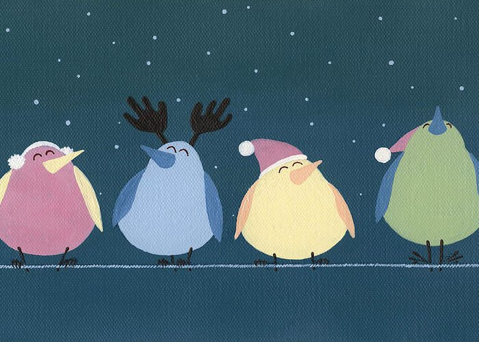Holiday Birds Greeting Card featuring the painting Holiday Birds by Natasha Denger