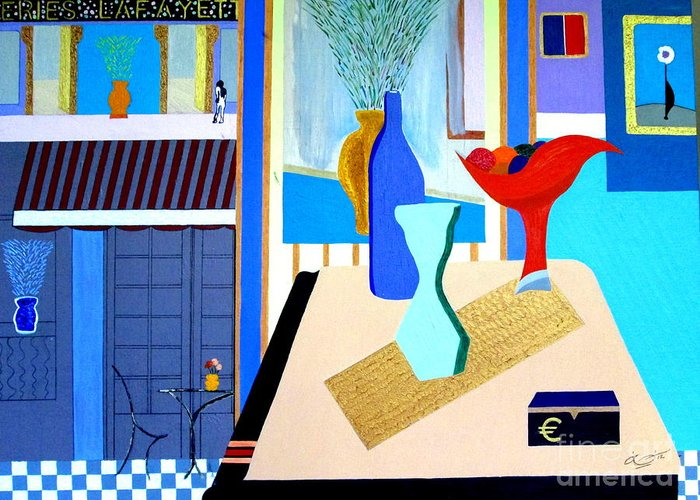 Paris Greeting Card featuring the painting Holiday In Paris by Bill OConnor