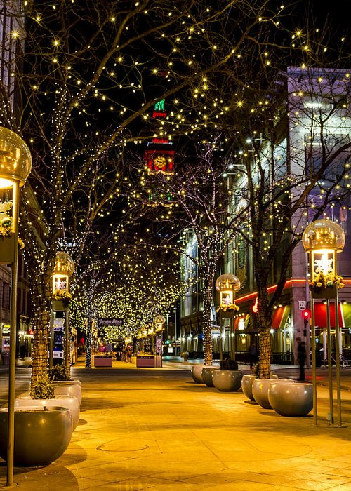 16th Street Mall Greeting Card featuring the photograph Holiday Lights In Denver Colorado by Teri Virbickis