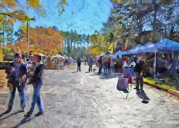 Holiday Greeting Card featuring the digital art Holiday Market by Ludwig Keck