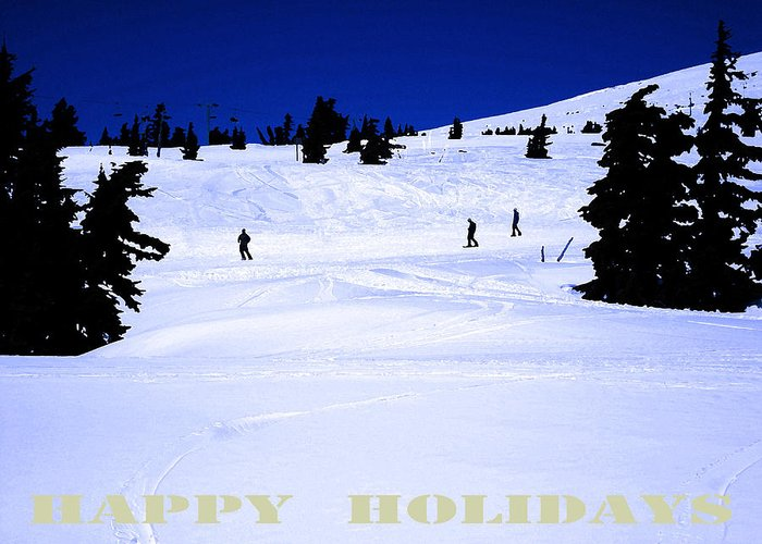 Skiers Greeting Card featuring the digital art Holiday Skiers At Mt Hood Oregon by Glenna McRae