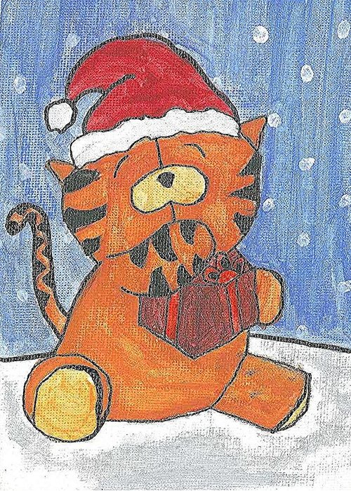 X-mas Tiger Greeting Card featuring the painting Holiday Tiger by Fred Hanna