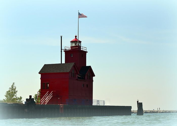 Michigan Greeting Card featuring the photograph Holland Harbor Light Vignette by Michelle Calkins