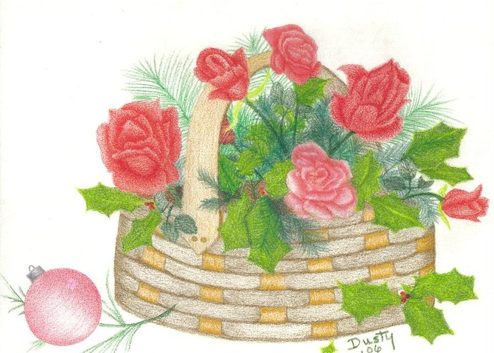 Roses Greeting Card featuring the drawing Holly Go Lightly by Dusty Reed
