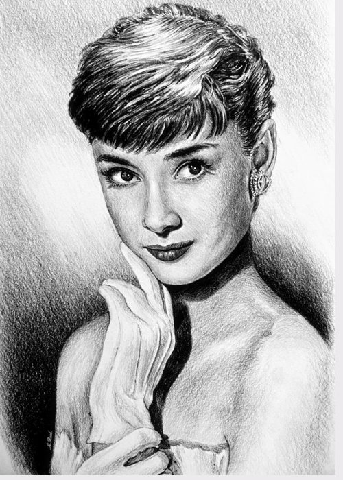 Audrey Hepburn Greeting Card featuring the drawing Hollywood Greats Hepburn by Andrew Read