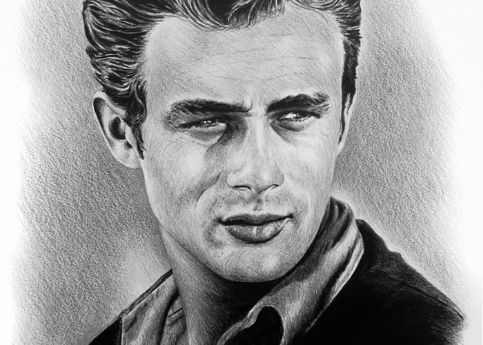 Portraits Greeting Card featuring the drawing Hollywood Greats James Dean by Andrew Read