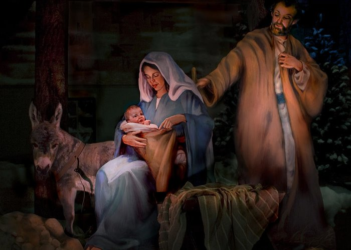 Nativity Greeting Card featuring the painting Holy Child by Jean Hildebrant