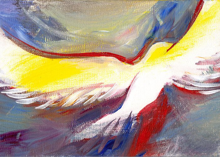 Luke 3:22 ...the Holy Spirit Descended On Him In Bodily Form Like A Dove. Greeting Card featuring the painting Holy Spirit by Kelly Whited