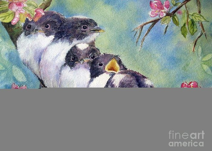 Baby Birds Greeting Card featuring the painting Home Alone by Patricia Pushaw