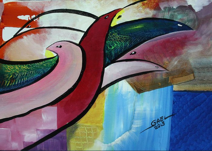 Homeboys Greeting Card featuring the painting Home Birds by Joel wayne Ganibe
