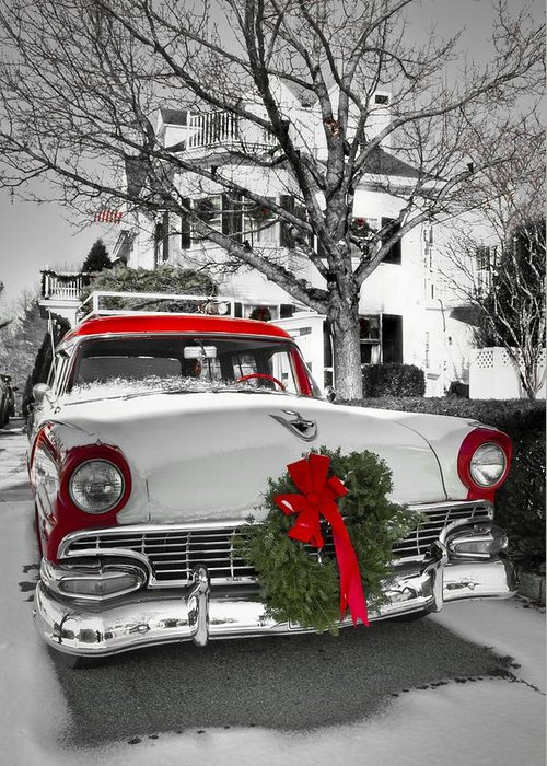 Cars Greeting Card featuring the photograph Home for the Holidays by Brenda Giasson