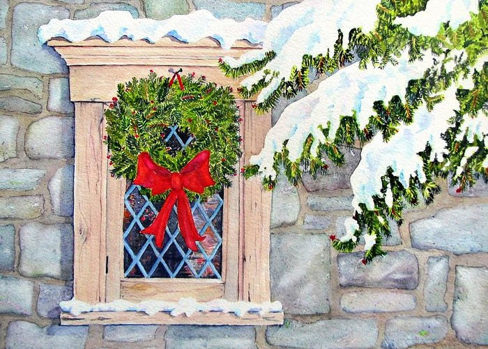 Holidays Greeting Card featuring the painting Home For The Holidays by Mary Ellen Mueller Legault