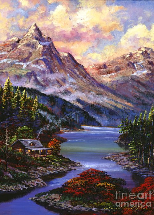 Landscape Greeting Card featuring the painting Home In The Mountains by David Lloyd Glover