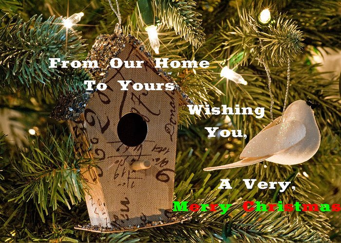 Christmas Greeting Card featuring the photograph Home In The Tree W Text by Don Durante Jr