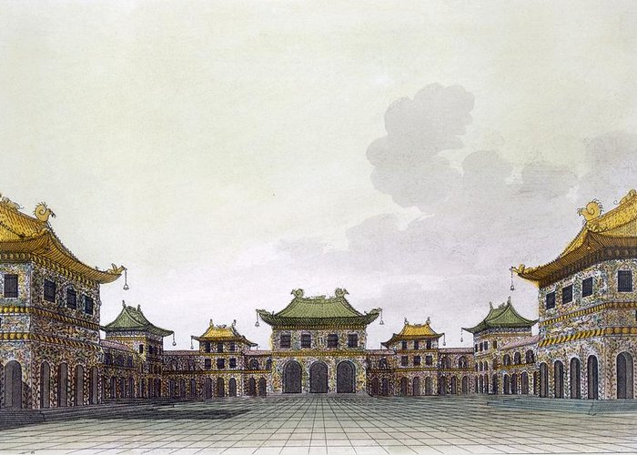 Illustration Greeting Card featuring the drawing Home Of A Rich Individual In Peking by Italian School