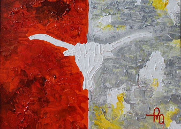 Texas Greeting Card featuring the painting Home Of The Longhorns by Michael Greeley