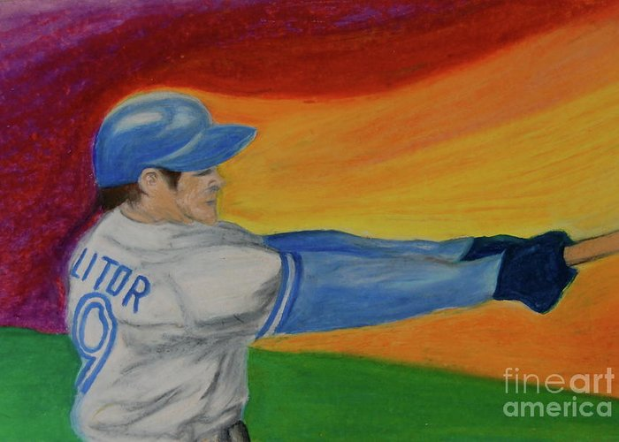 Baseball Greeting Card featuring the drawing Home Run Swing Baseball Batter by First Star Art