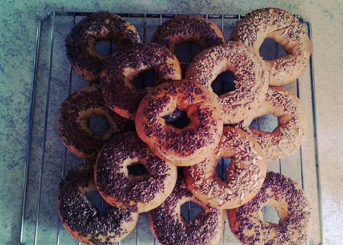 Flax Seed Greeting Card featuring the photograph Homemade Bagels by Lasse Kristensen