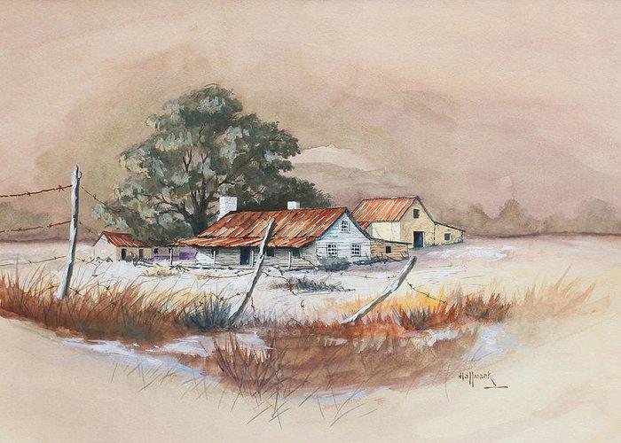 Bob Hallmark Greeting Card featuring the painting Homestead by Bob Hallmark