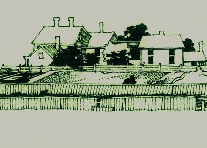 Homestead Greeting Card featuring the drawing Homestead by Dale Michels
