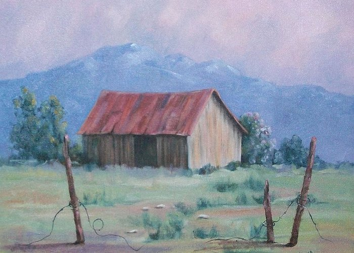 Landscape Greeting Card featuring the painting Homestead by Marcea Clive