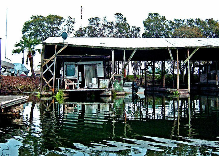 Delta Houseboating Prints Greeting Card featuring the digital art Homesteading On The Delta by Joseph Coulombe