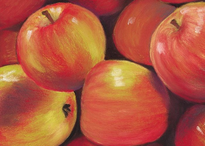 Malakhova Greeting Card featuring the painting Honeycrisp Apples by Anastasiya Malakhova