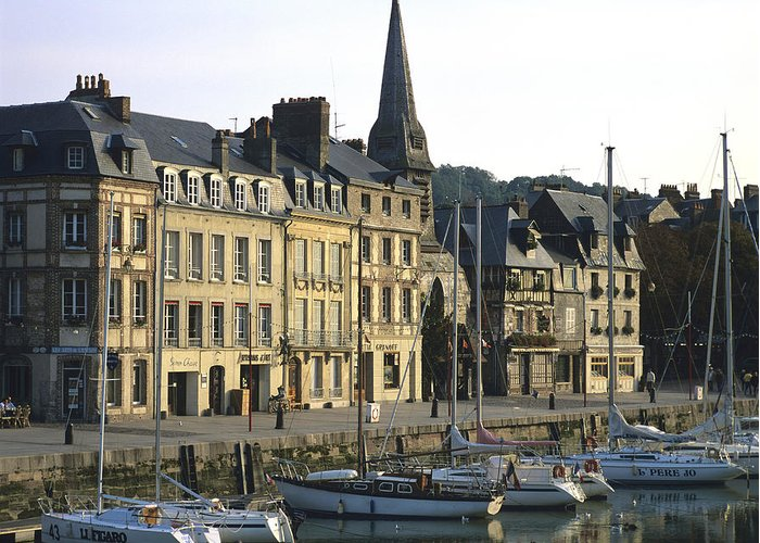 Architecture Boat Boats Building Buildings Calvados Day Daylight Daytime During Europe European Exterior Exteriors France French Harbor Harbour Harbour Honfleur House Houses Nobody Normandy Outdoor Photo Photos Port Ports Shot Shots The Greeting Card featuring the photograph Honfleur Harbour. Calvados. Normandy. France. Europe by Bernard Jaubert