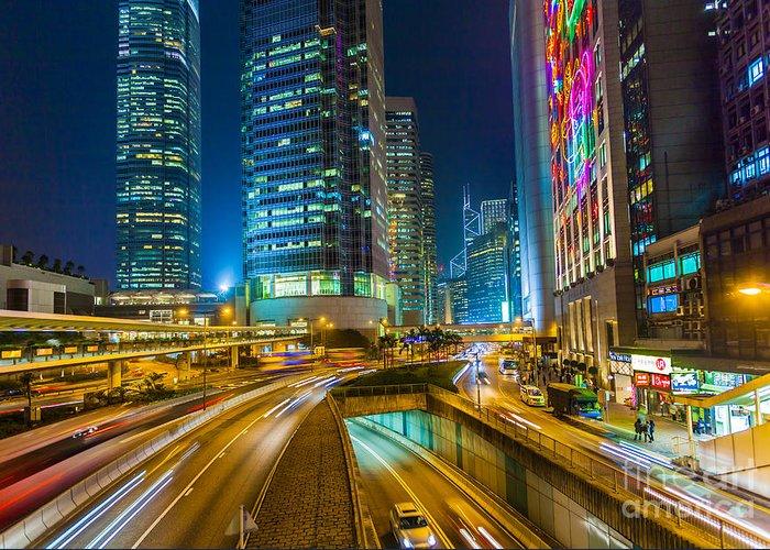Night Greeting Card featuring the photograph Hong Kong Highway At Night by Fototrav Print