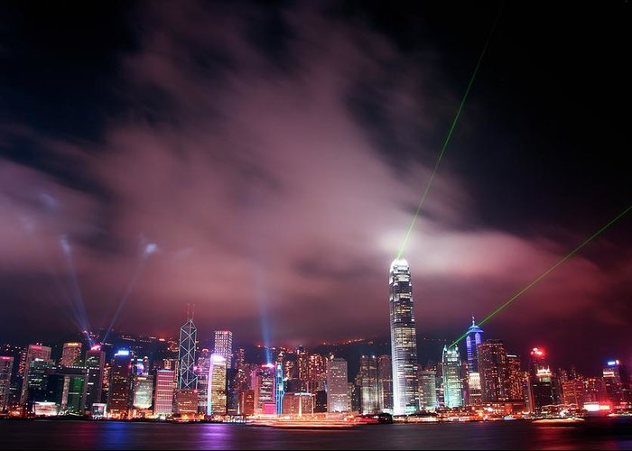 Tranquility Greeting Card featuring the photograph Hong Kong Laser Lights by Photo By Dan Goldberger