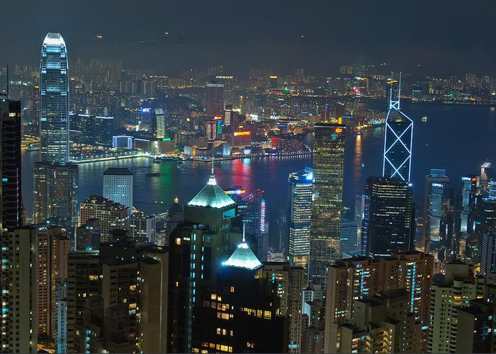 Hong Kong Greeting Card featuring the photograph Hong Kong Night Scene by Marek Poplawski