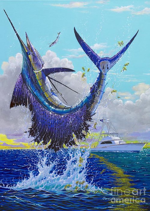 Sailfish Greeting Card featuring the painting Hooked Up Off004 by Carey Chen