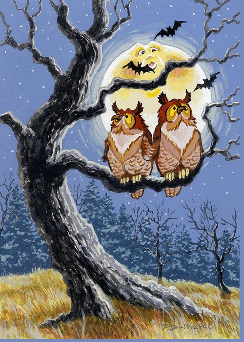 Halloween Greeting Card featuring the painting Hooty Whos There by Richard De Wolfe
