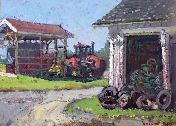 Tractor Tire Greeting Cards