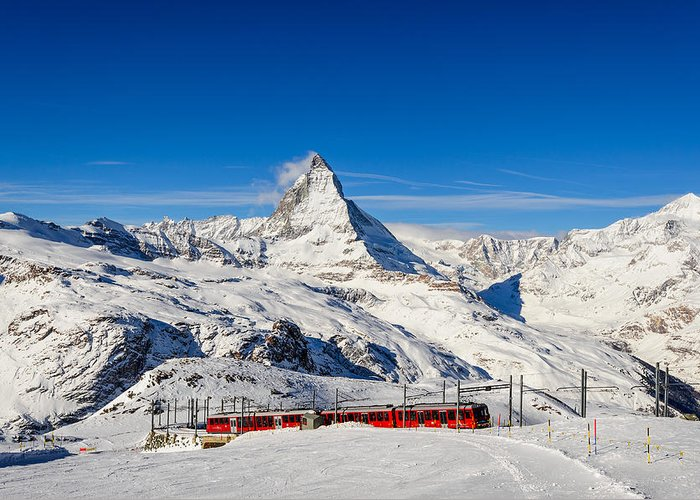Matterhorn Greeting Card featuring the photograph Hop On The Train by Catalin Tibuleac