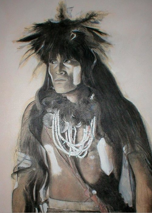Hopi Greeting Card featuring the painting Hopi Snake Priest by Terri Ana Stokes