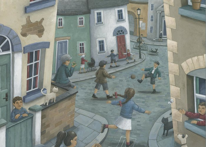 Peter Adderley Greeting Card featuring the photograph Hopscotch Down The Hill by Peter Adderley