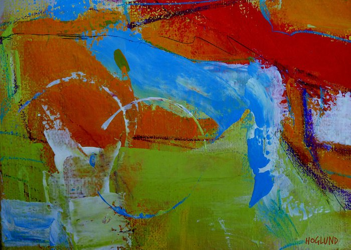 Abstract Acrylic Painting Greeting Card featuring the painting Horizon 43 by Daniel Hoglund
