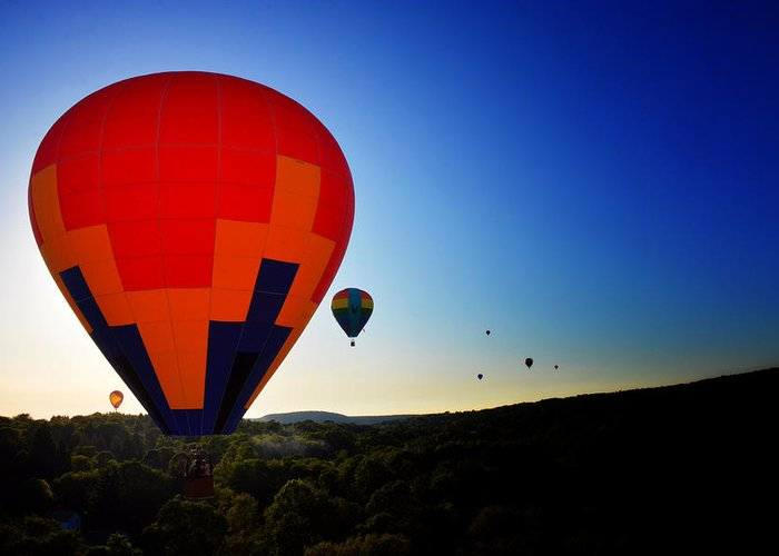 Hot Air Balloon Greeting Card featuring the photograph Horizon by Heather Reichel