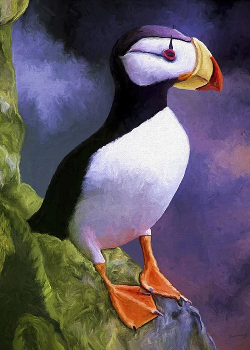 Animal Greeting Card featuring the painting Horned Puffin by David Wagner