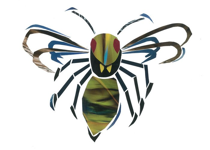 Hornet Greeting Card featuring the mixed media Hornet by Earl ContehMorgan