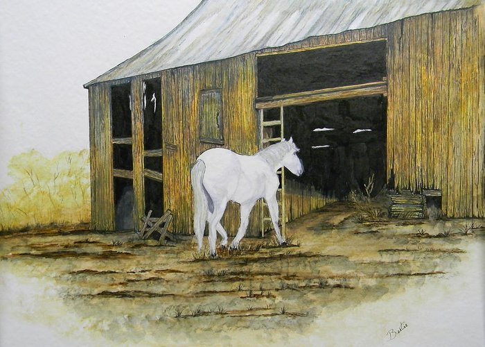 Horse Greeting Card featuring the painting Horse And Barn by Bertie Edwards