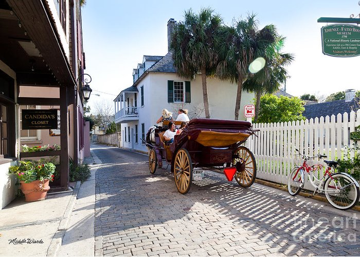 Horse And Buggy Ride St Augustine Greeting Card featuring the photograph Horse And Buggy Ride St Augustine by Michelle Wiarda-Constantine