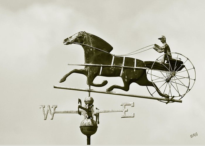 Horse Greeting Card featuring the photograph Horse And Buggy Weathervane In Sepia by Ben and Raisa Gertsberg